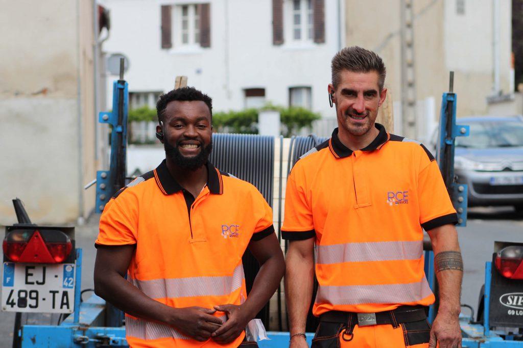 PCE Services - équipe installation fibre optique